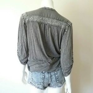 Solitaire Tops - Solitaire Gray Crochet Button Up Blouse